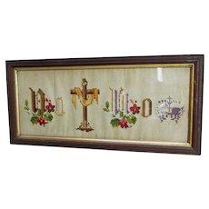 Antique c1870s Victorian Pictorial Motto Sampler, No Cross, No Crown