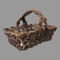 Antique Tramp Art, Folk Art, Basket Hand Made Walnuts & Cigar Boxes