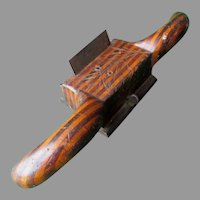 Antique Folk Art Wood Working Tool, Plane, Multi Color Treen