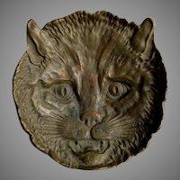 Antique Cat or Kitten Bronze Tray, Desk or Vanity Accessory