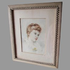 Lovely Antique c1880s Watercolor Painting of a Beautiful Young Woman