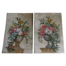 Lovely Pair Theorem Paintings on Velvet, Flower Urns, Signed