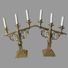 Pair Gothic, Ecclesiastical Quatrefoil Table Lamps, Church Lighting