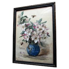Antique c1896 Watercolor Painting Bees & Flowers, Signed from Sanitarium