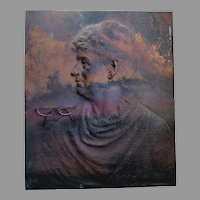 Antique c1888 Bronze Architectural Plaque of Woman, Sculpture