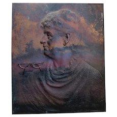 Antique c1888 Bronze Architectural Plaque of Woman, Sculpture