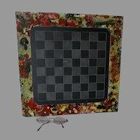 Folk Art Slate, Stone Checkerboard, Chess Board, Game Board