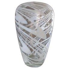 Vintage Italian Art Glass Vase, Opalescent Swirl