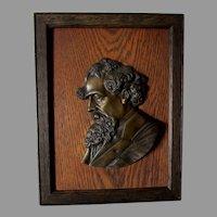 Antique Arts & Crafts Plaque, Writer Charles Dickens, Brass, Oak