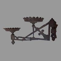 Antique c1880s Double Oil Lamp Bracket, Cast Iron Lighting Accessory