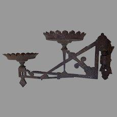 Antique c1880s Double Oil Lamp Bracket, Cast Iron Lighting Accessory