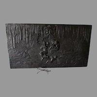 Antique Hand Carved Architectural Plaque, Merman, Cherub, Lady, Poseidon