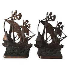 Arts & Crafts Nautical Eighteenth Century Galleon Bookends