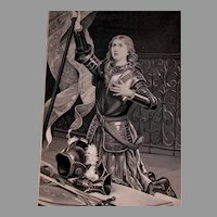 Antique French Silk Stevensgraph Tapestry, Joan of Arc