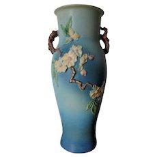 """Roseville Pottery Floor Vase Blue Apple Blossom 18"""" Tall Dogwood"""