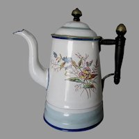 Pretty Antique Agateware Coffee Teapot with Flowers