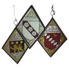 Antique English Tudor Stained Glass Window Fragments, Heraldry