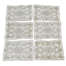 6 Antique European Hand Made Lace Placemats with Butterflies