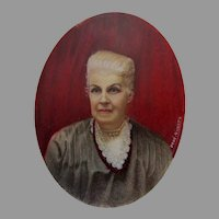Miniature Painting of Matriarch, Notre Dame, Signed Giulietta
