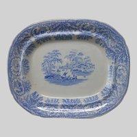 Antique c1840s Blue Staffordshire Meat Platter, English