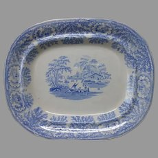 Antique c1840s Blue Staffordshire Meat Platter, English