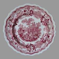 Antique c1830s Red Romantic Staffordshire Transferware Plate