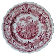 Antique c1830s Red Romantic Staffordshire Transferware Plate