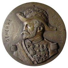 Antique Bronze Plaque French Military General Boulanger, Political