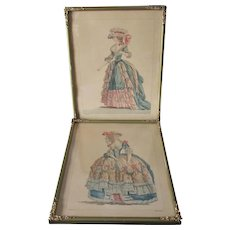 Pair Antique French Prints, Lovely Ladies in Fancy Gowns, High Fashion