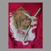 Antique c1880s  Saint Bernard Dog Tapestry, Embroidered Wool