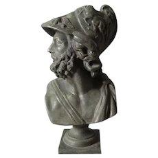 Antique 19th Century Bust of Greek God, Mythological Ajax