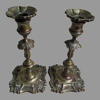 Lovely Pair Antique English Queen Anne Brass Candlesticks