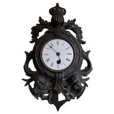 Antique English Cast Iron Clock, Order of the Garter