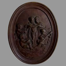 Lovely Antique Bronze Plaque with Cherubs Playing Music