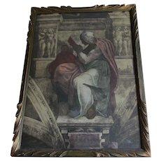 Antique Italian Print of Prophet Persian Sibyl, Michelangelo, Sistine Chapel