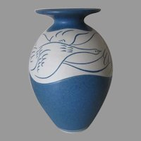 Studio Pottery, Art Pottery Vase with Geese by Louise Darby, England