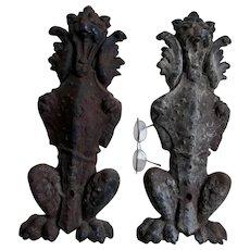 Pair Antique Gargoyle, lion Architectural Elements, Cast Iron Andirons