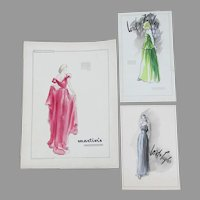 Fashion Illustrations, Lord & Taylor, Evening Gowns, Watercolor Painting Ink