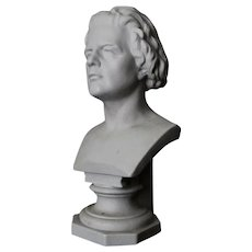 Vintage KPM Bust of Anton Rubinstein, Bisque Porcelain