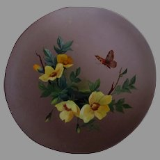 Antique c1890s Victorian Tole Oil Painting, Butterfly with Wild Roses