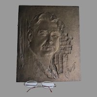 Bronze Plaque of a Gentleman with Mustache, Signed