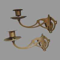 Pair Art Nouveau Bronze Candle Sconces, Candlesticks