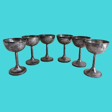 Hallmarked Antique Austria Hungary Sterling Silver Cordial Glasses