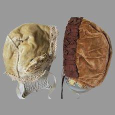 Pair Antique Edwardian Velvet Girls Bonnet, Hats, Millinery