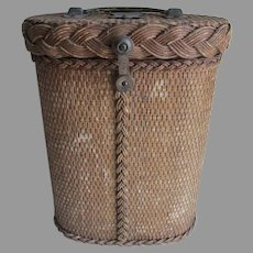 Antique c1910s Wicker Picnic Basket for Bottles, Thermos