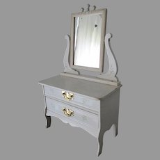 Antique Victorian Doll, Miniature Dresser, Chest of Drawers with Mirror