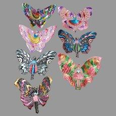 Art Nouveau, Art Deco Silk Embroidered Appliques, Butterfly Ladies