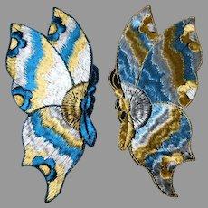 2 Art Nouveau, Art Deco Silk Embroidered Metallic Butterfly Appliques