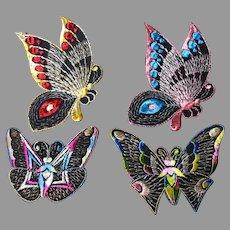 4 Art Nouveau, Art Deco Silk Embroidered Butterfly Appliques