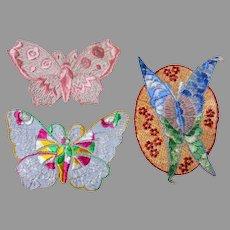 3 Art Nouveau, Art Deco Silk Embroidered Butterfly Appliques
